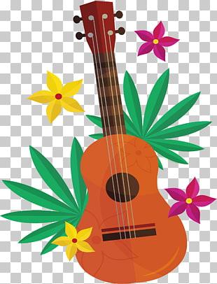 Hawaii Ukulele Luau , aloha, brown ukulele PNG clipart.
