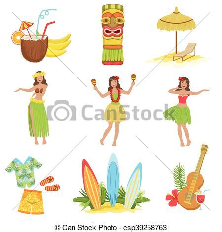 Clip Art Vector of Hawaiian Vacation Set Of Classic Symbols.