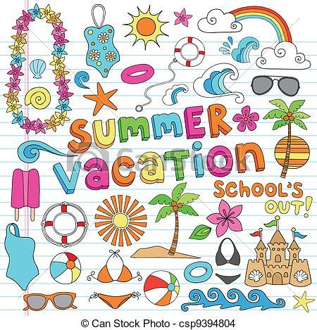 EPS Vector of Hawaiian Summer Vacation Doodles.