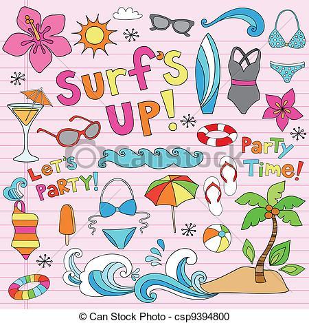 Vector Clipart of Summer Hawaiian Vacation Doodles.