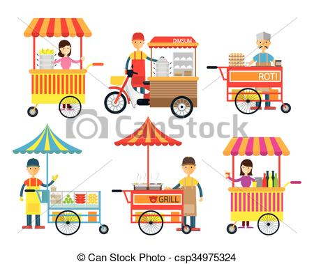 Vector Illustration of Street Food and Drink, Hawker, Seller.