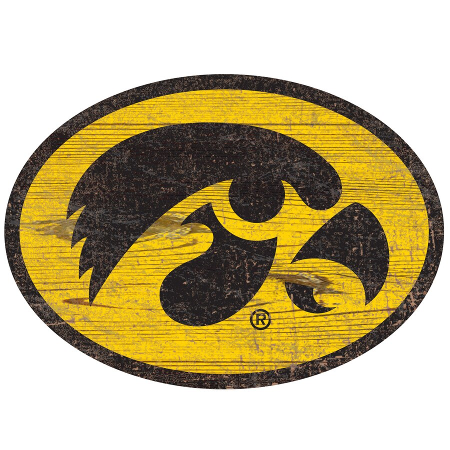 Iowa Hawkeyes 24\'\' x 24\'\' Distressed Logo Cutout Sign.