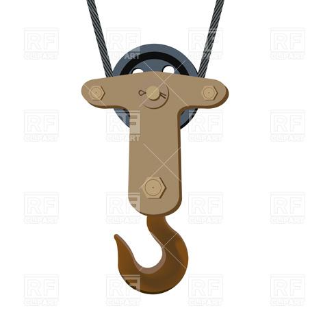 Crane hook on wire hawser Vector Image #2628.