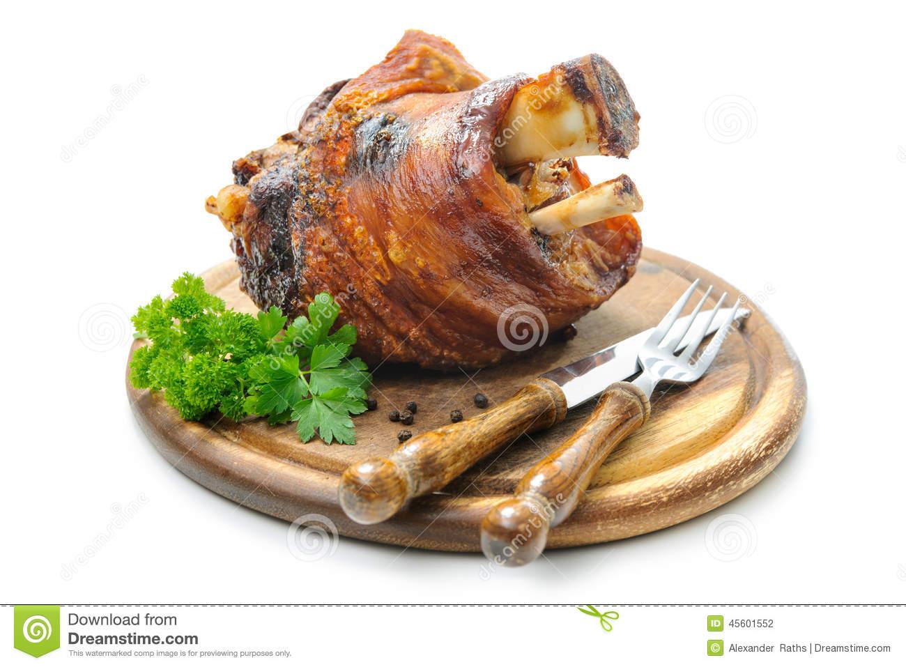 Chopped German Pork Hocks On Plate Stock Photo.