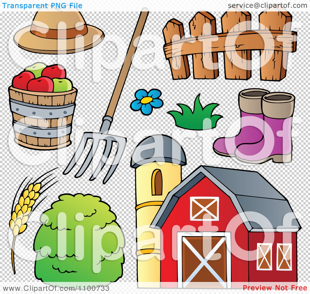 Clipart Farmer Hat Pitchfork Fence Rubber Boots Apples Wheat Hay.