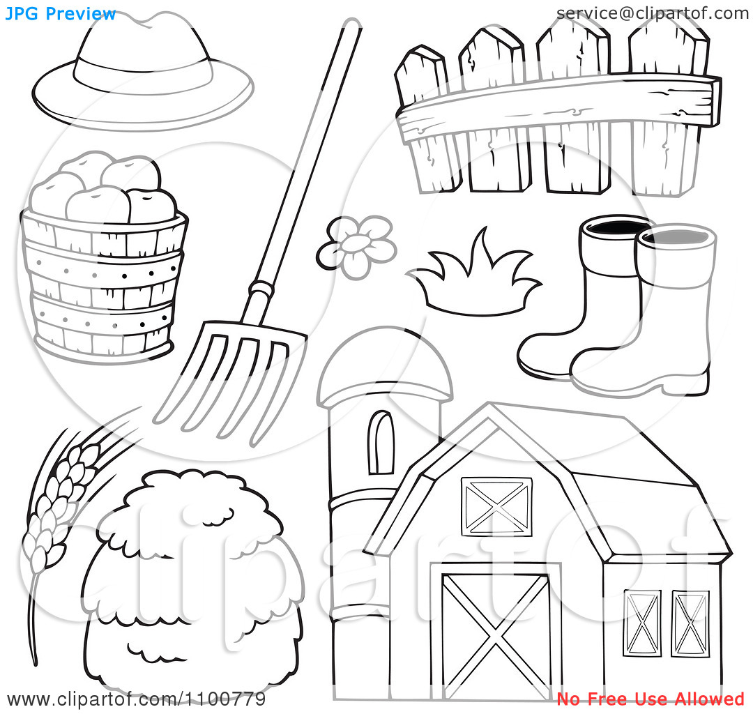 Clipart Outlined Farmer Hat Pitchfork Fence Rubber Boots Apples.