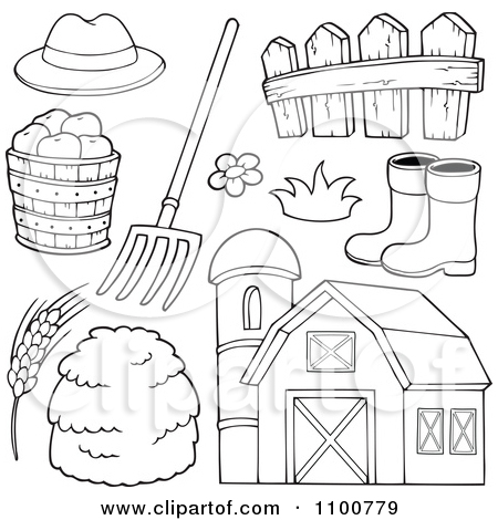 Clipart Outlined Farmer Hat Pitchfork Fence Rubber Boots Apples