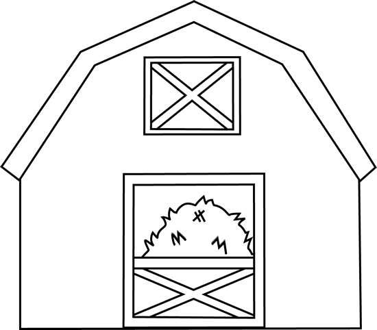 Black and White Barn with Hay Clip Art.