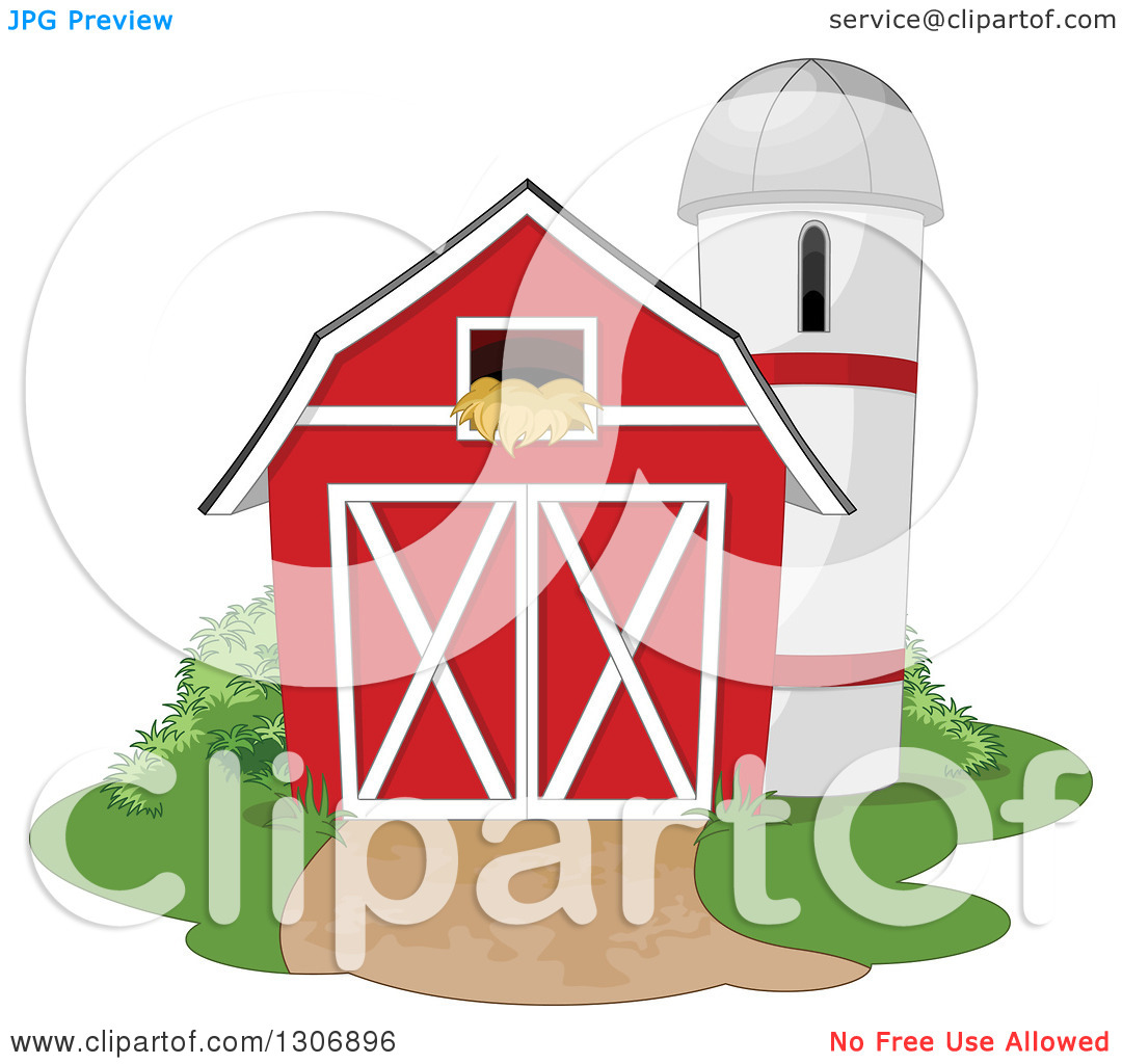 Clipart of a Red Barn with a Hay Loft and Farm Silo with Shrubs.