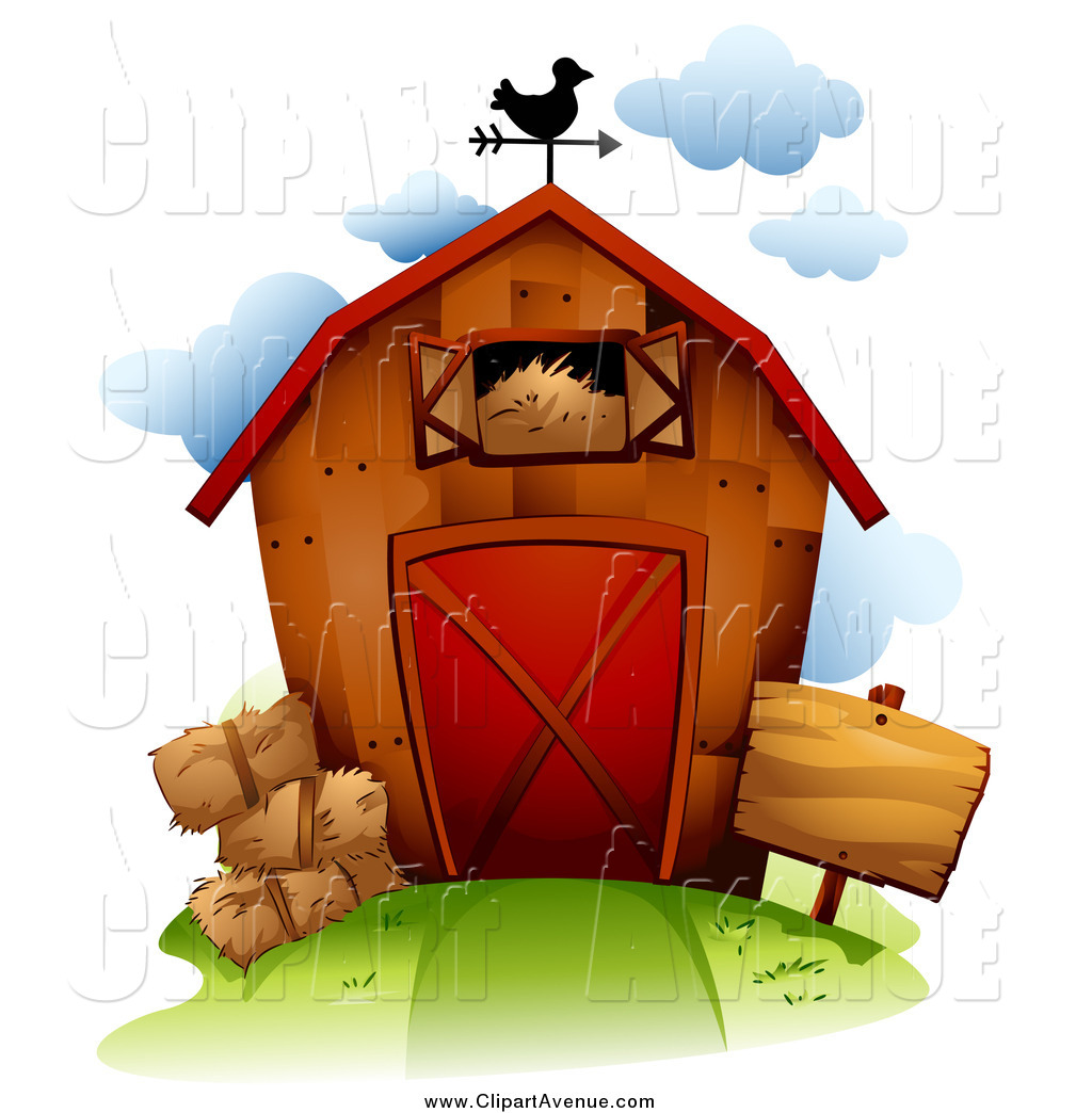 Avenue Clipart of a Wooden Barn with Hay by BNP Design Studio.