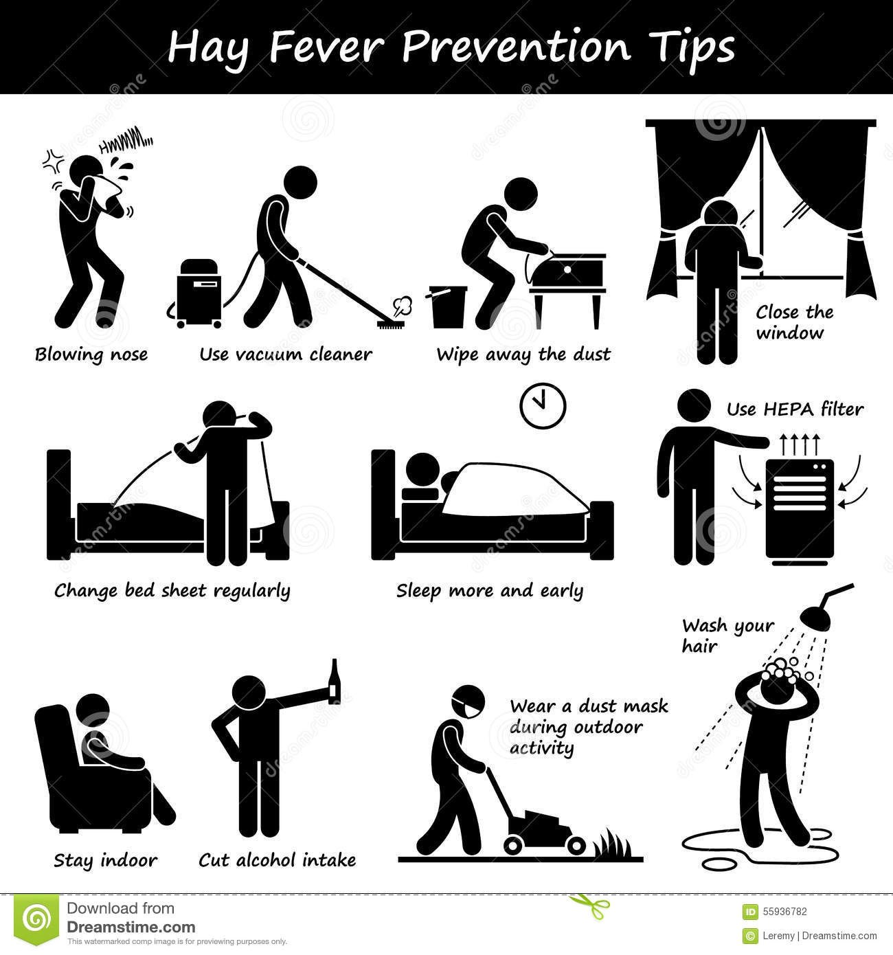 Hay Fever Prevention Allergy Tips Clipart Stock Vector.