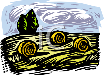 Royalty Free Clip Art Image: Rolled Bales of Hay in a Newly Mown Field.