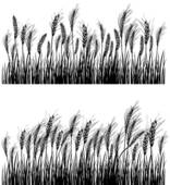 Stock Illustration of A black and white ink drawing of hay fields.