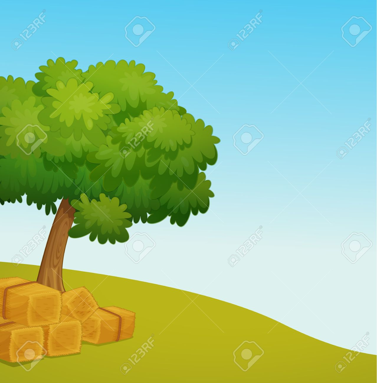 Illustration Of An Empty Field With Hay Royalty Free Cliparts.
