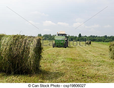 Stock Photo of Straw bales agricultural machine gather hay.