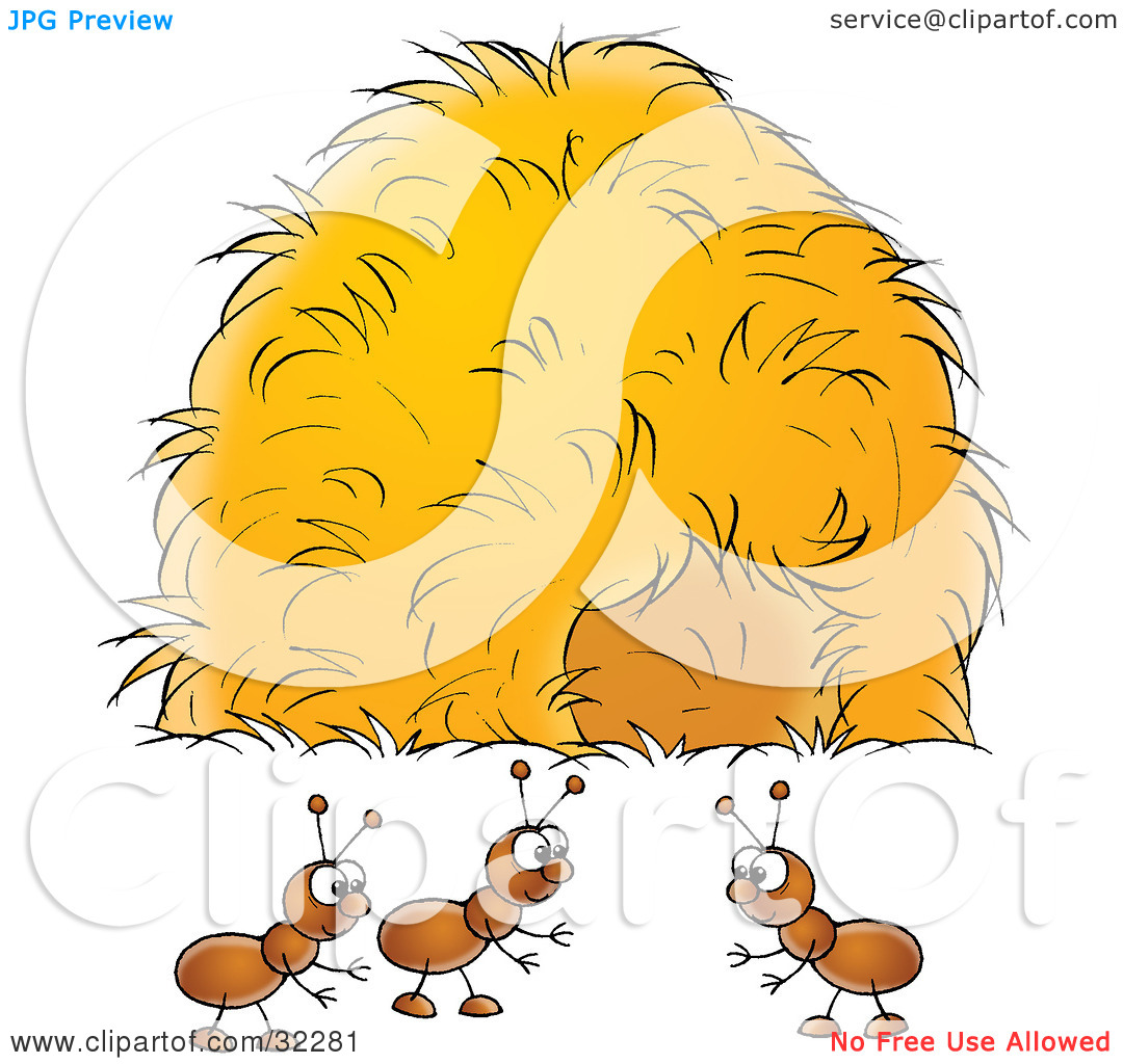 Clipart Illustration of a Group Of Ants Socializing Near A Hay.