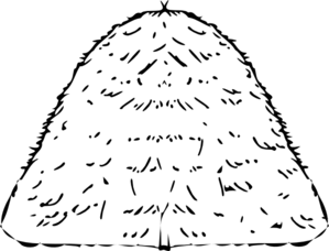 Pile of hay clipart black and white.