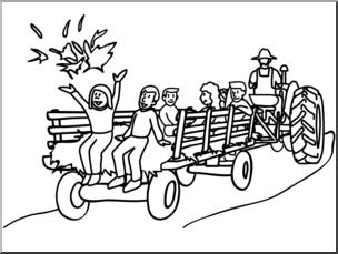 Clip Art: Hay Ride B&W I abcteach.com.