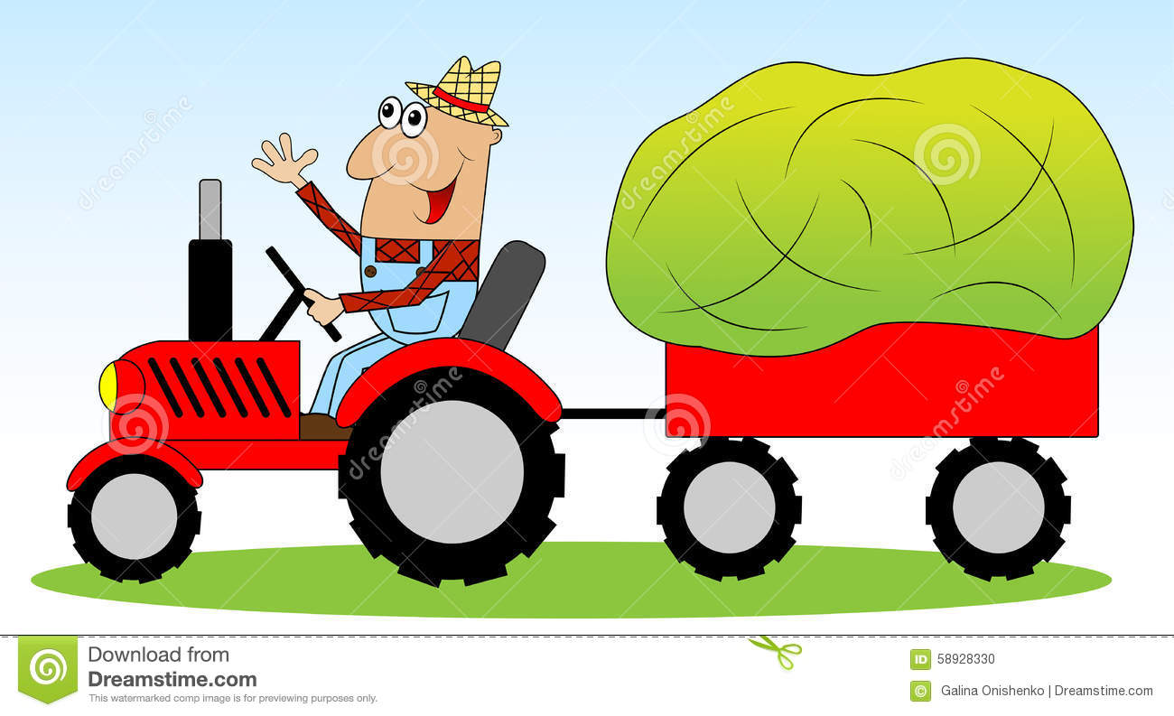 Red Tractor Hay Baler Stock Illustrations.