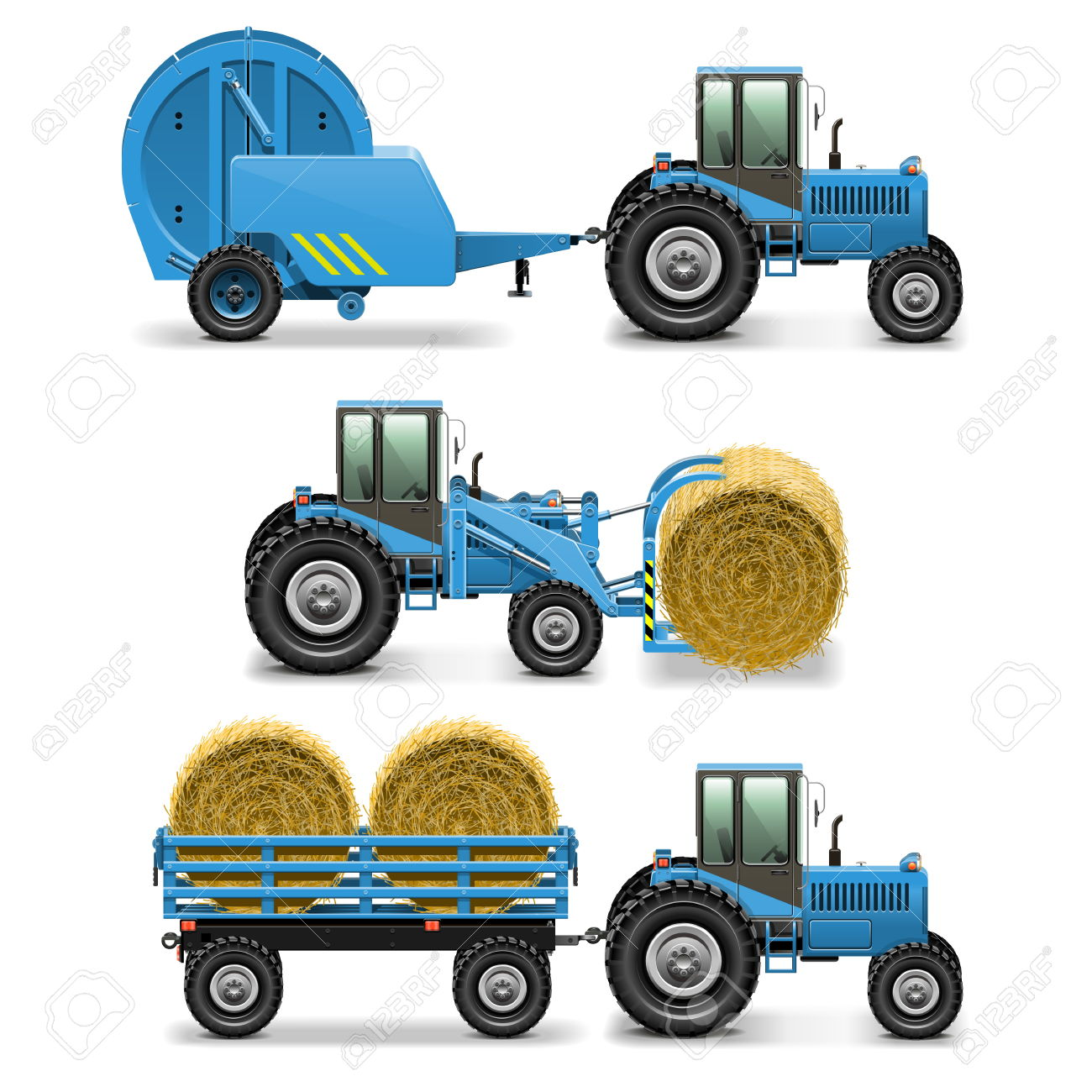 Vector Agricultural Tractor Set 5 Royalty Free Cliparts, Vectors.