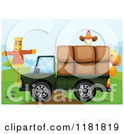 Cartoon of a Cargo Truck with Chickens Hay.