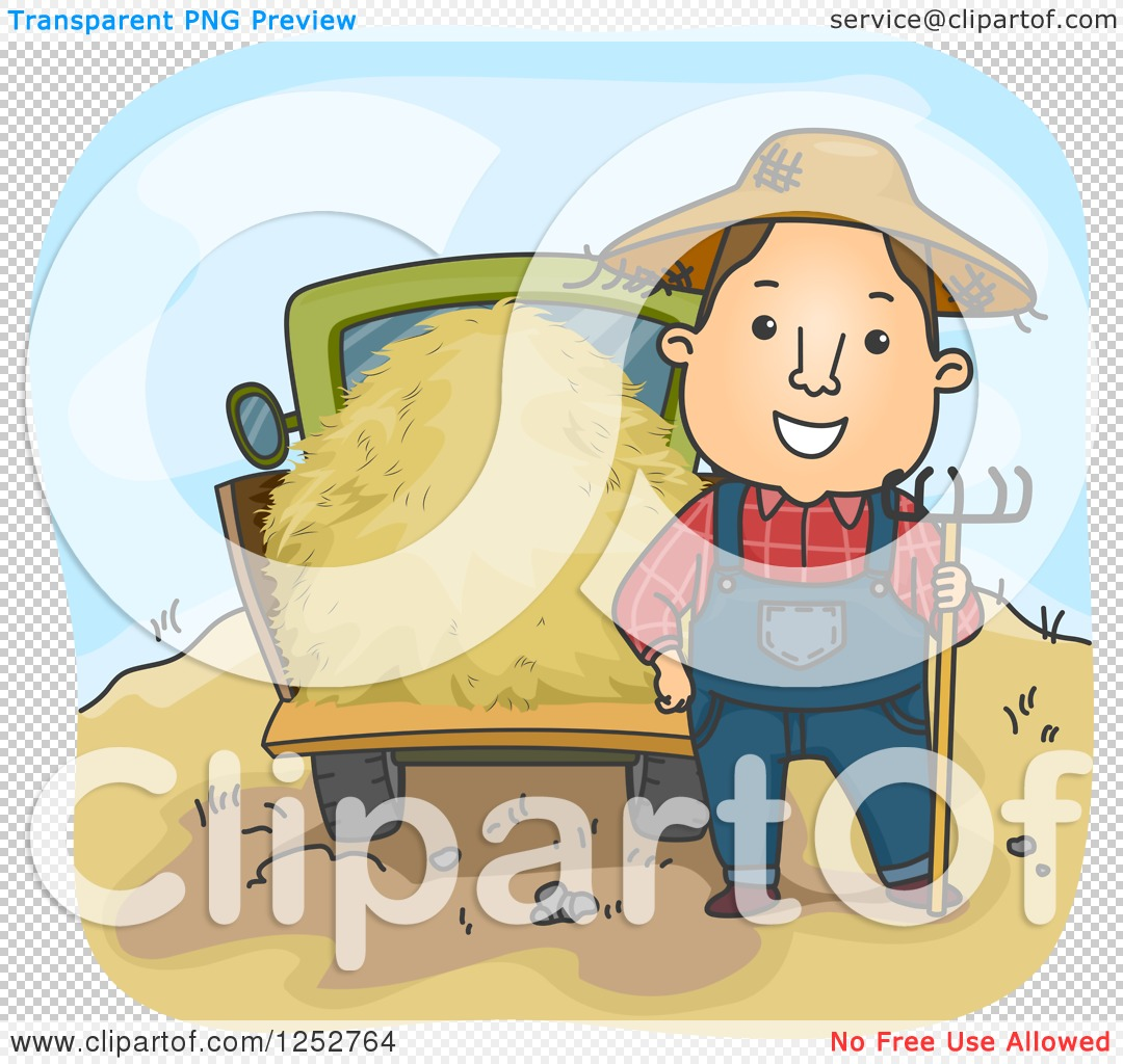 Clipart of a Happy White Farmer Man with a Pitchfork and Hay Truck.