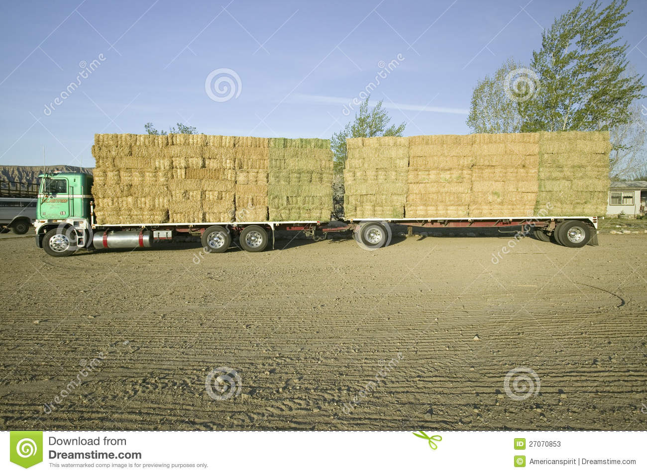 Parked Truck Loaded With Neatly Stacked Hay Bales Editorial Stock.