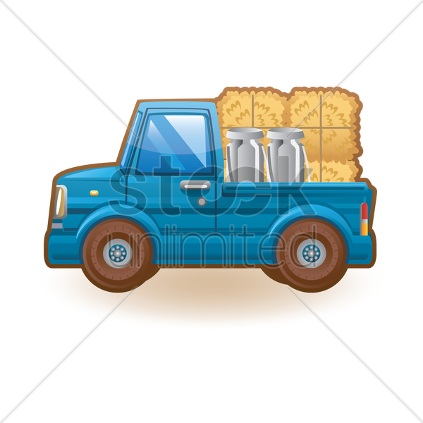 Mini truck with hay and milk can Vector Image.