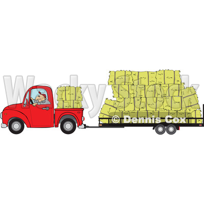 of a Cartoon White Man Driving a Red Pickup Truck and Hauling Hay.