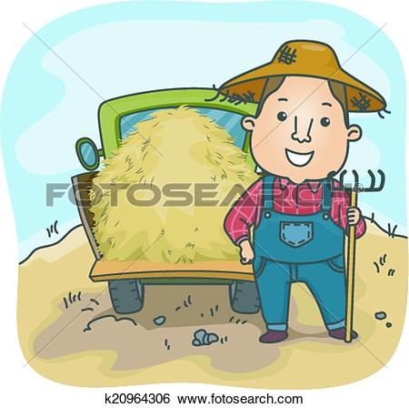 Clip Art of Farmer Hay Truck k20964306.
