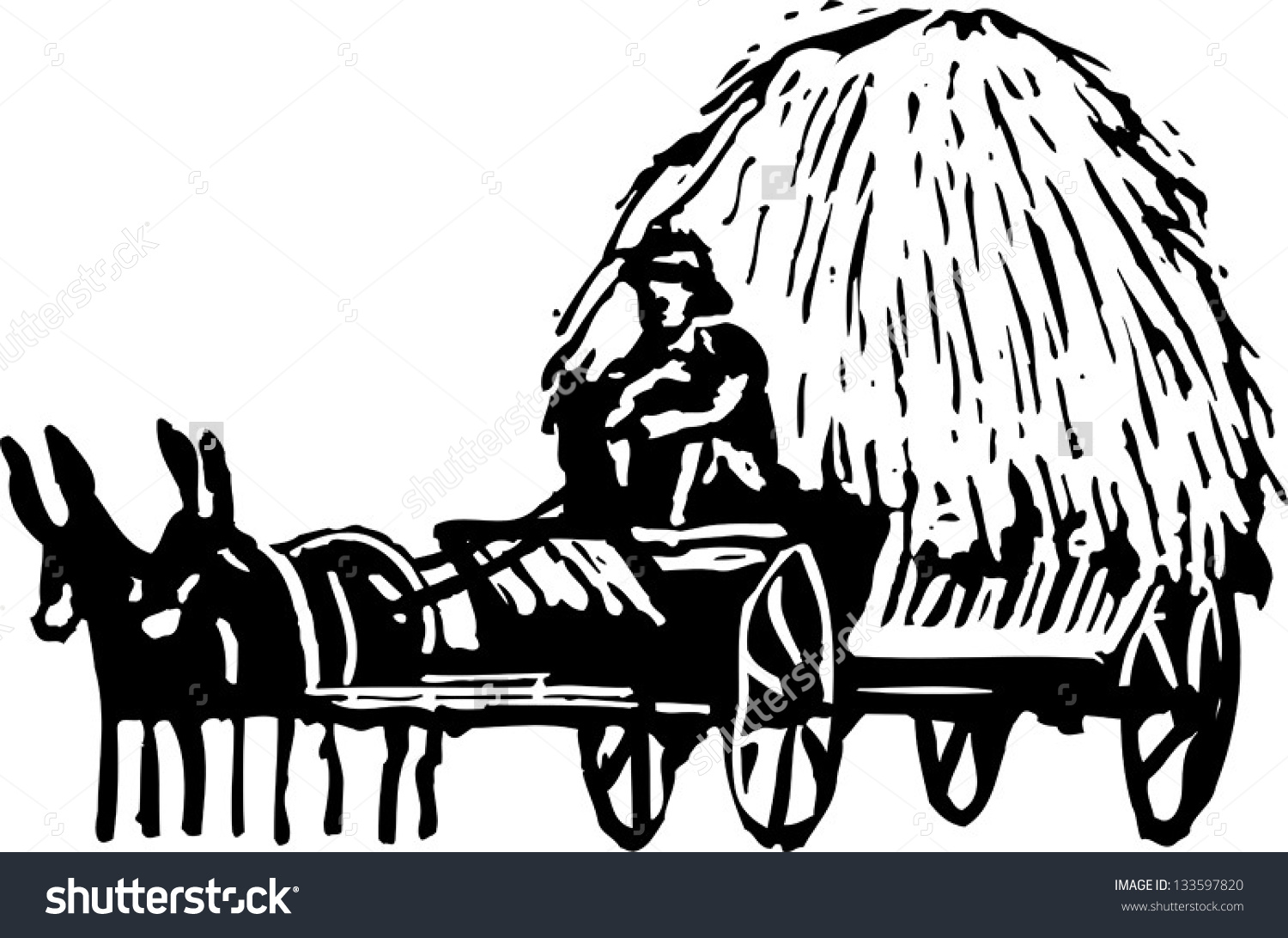 Black And White Vector Illustration Of Wagon With Hay.