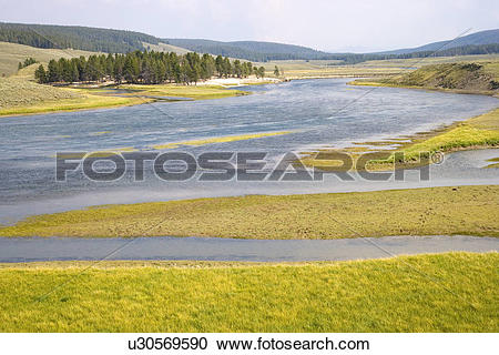 Stock Photography of Yellowstone River meandering through Hayden.