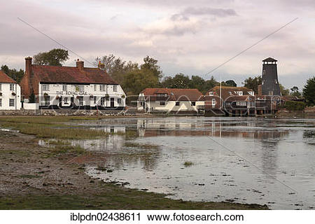 """Stock Photography of """"Langstone Mill and the Royal Oak pub between."""