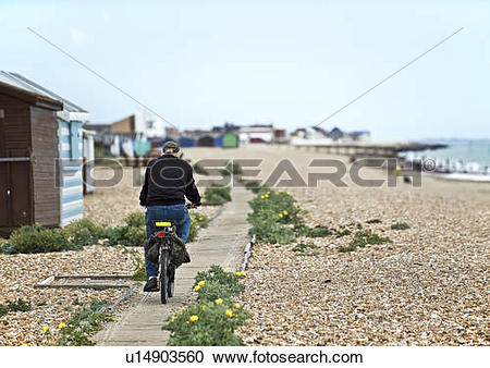 Stock Photography of England, Hampshire, Hayling Island. A man.
