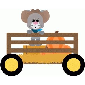 Silhouette Design Store: mouse in wagon hayride.