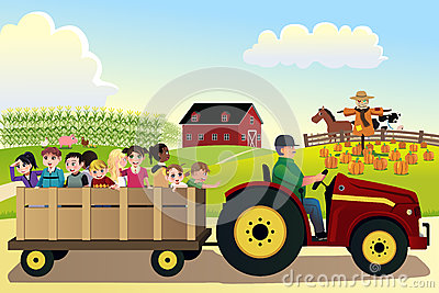 Kids On A Hayride In A Farm During Fall Season Stock Vector.