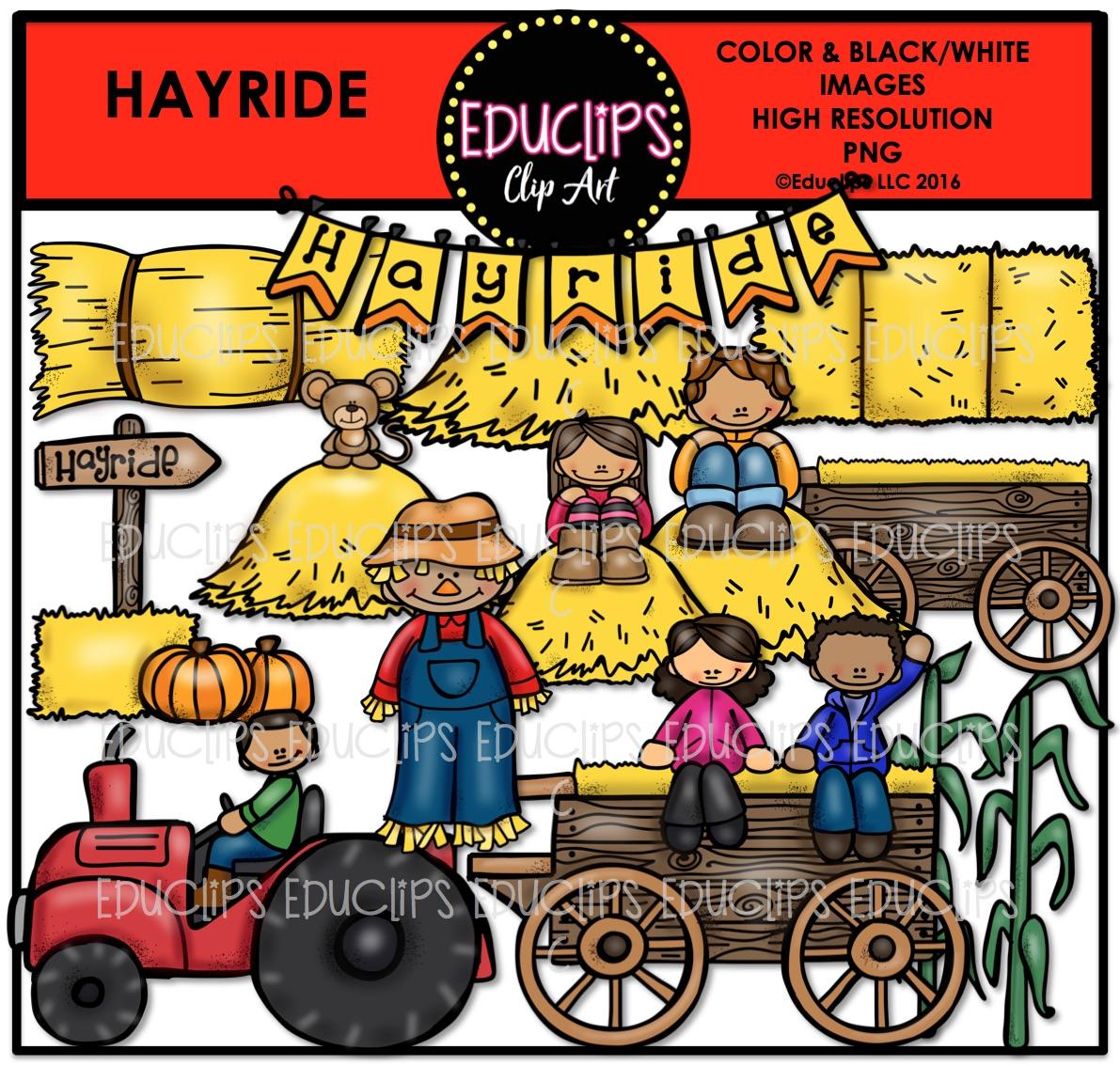Hayride Clip Art Bundle (Color and B&W).