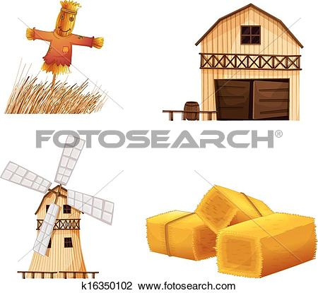 Clipart of Barn houses, hays and a scarecrow k16350102.