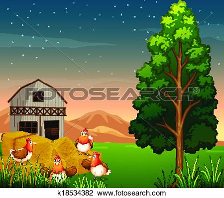 Clipart of A group of chickens near the hays at the farm k18534382.