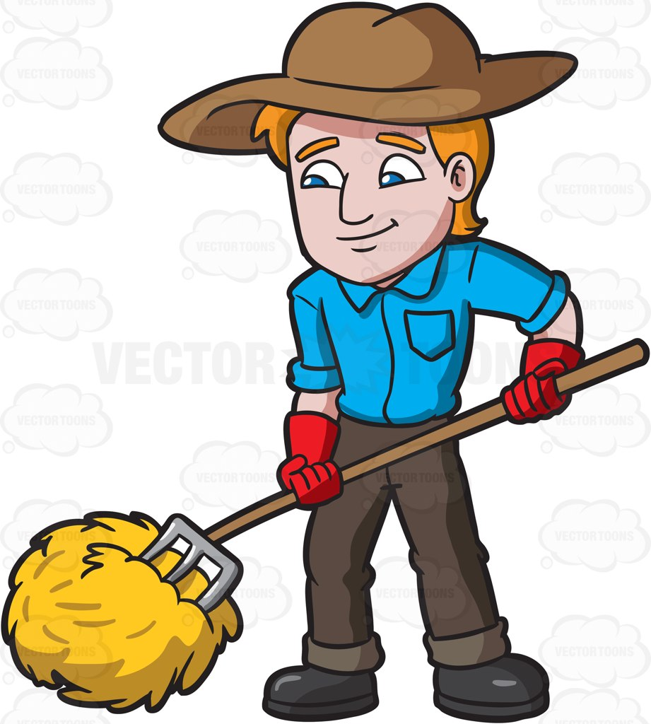 A Farmer Rolling The Hays Cartoon Clipart.