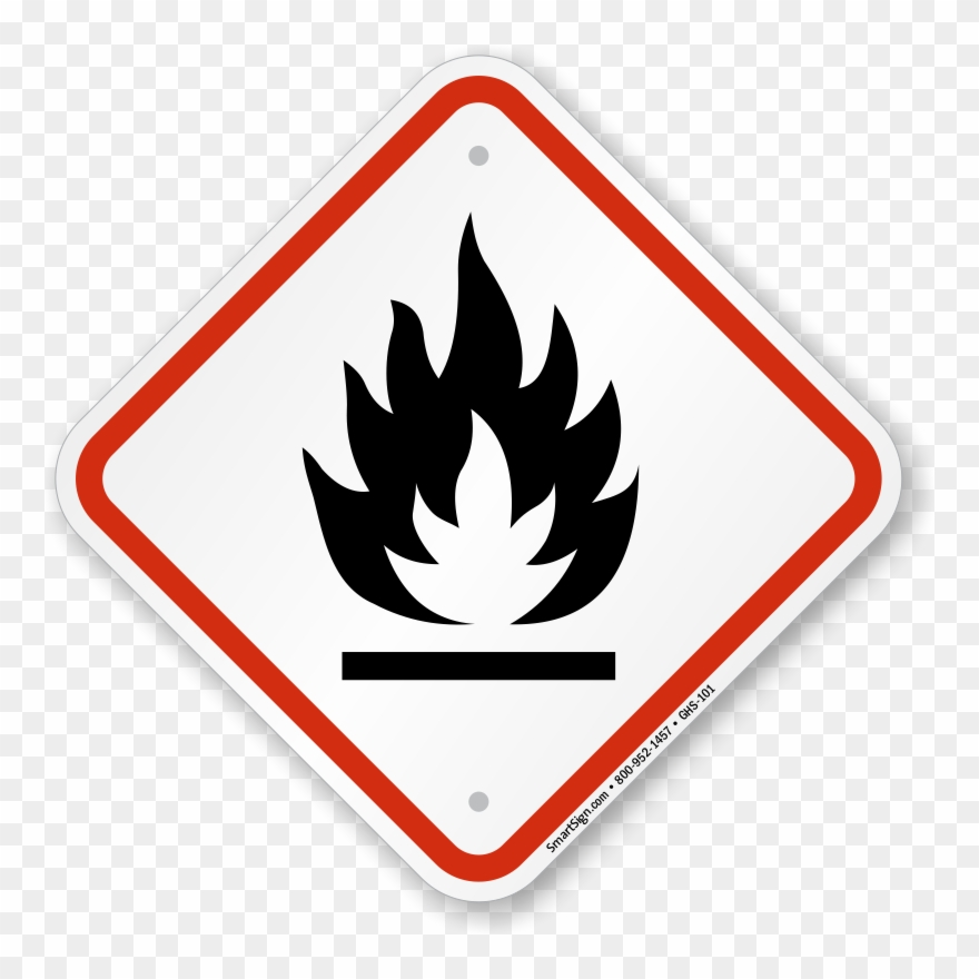 Ghs Flammable Pictogram Sign, Diamond Shaped, Sku.