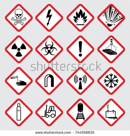 Stock Vector: Warning hazard vector pictograms. Illustration of.