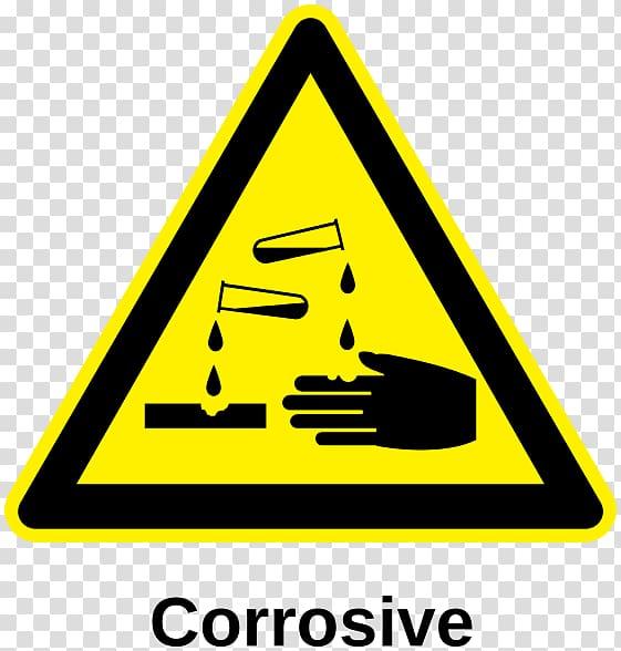 Corrosive substance Hazard symbol Acid Corrosion, label transparent.