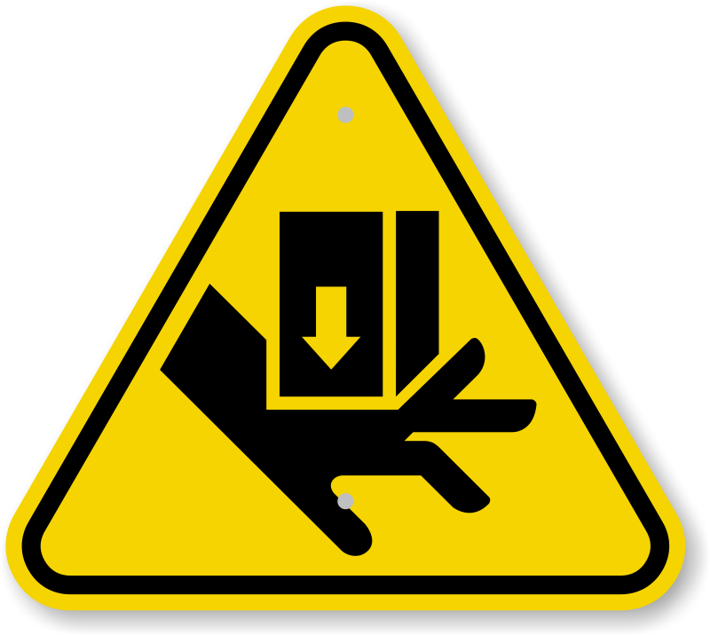 Pinching hazards kids clipart.
