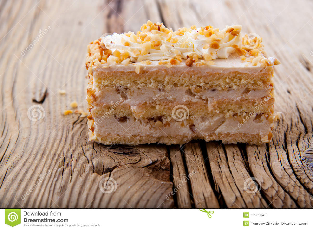 Piece Of Creamy Hazelnut Cake On Royalty Free Stock Images.