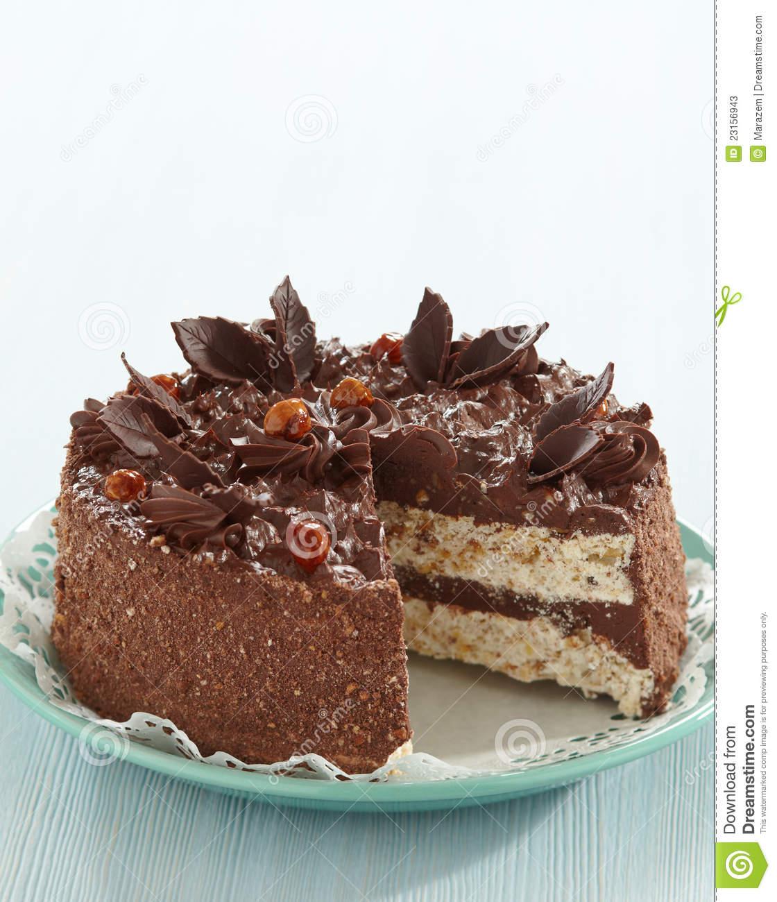 Chocolate And Hazelnut Cake Stock Photos.