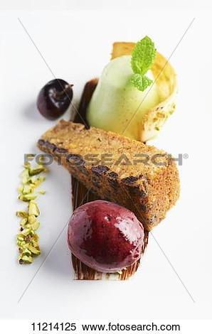 Stock Image of Hazelnut cake with cherry sorbet 11214125.
