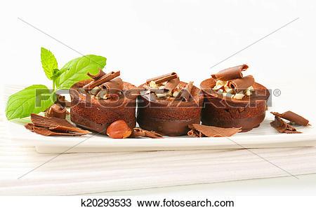 Stock Photo of Mini chocolate hazelnut cakes k20293533.