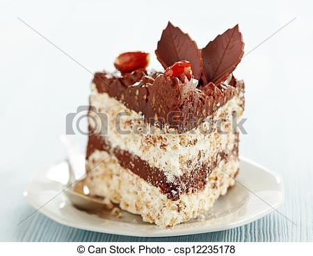 Picture of chocolate and hazelnut cake slice csp12235178.