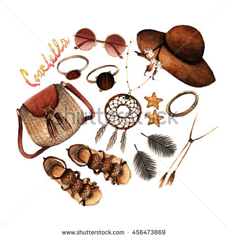 Watercolor Fashion Illustration Set Trendy Accessories Stock.